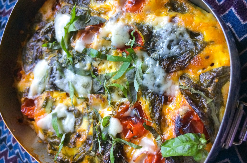 Veggie Frittata with Sweet Onions, Tomatoes, Pesto, Spinach and Parmesan