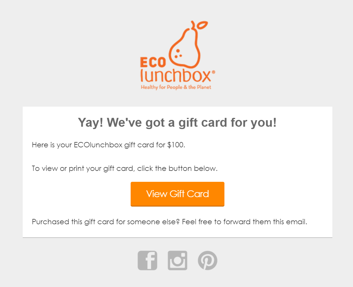 ECOlunchbox Gift Card Received Email
