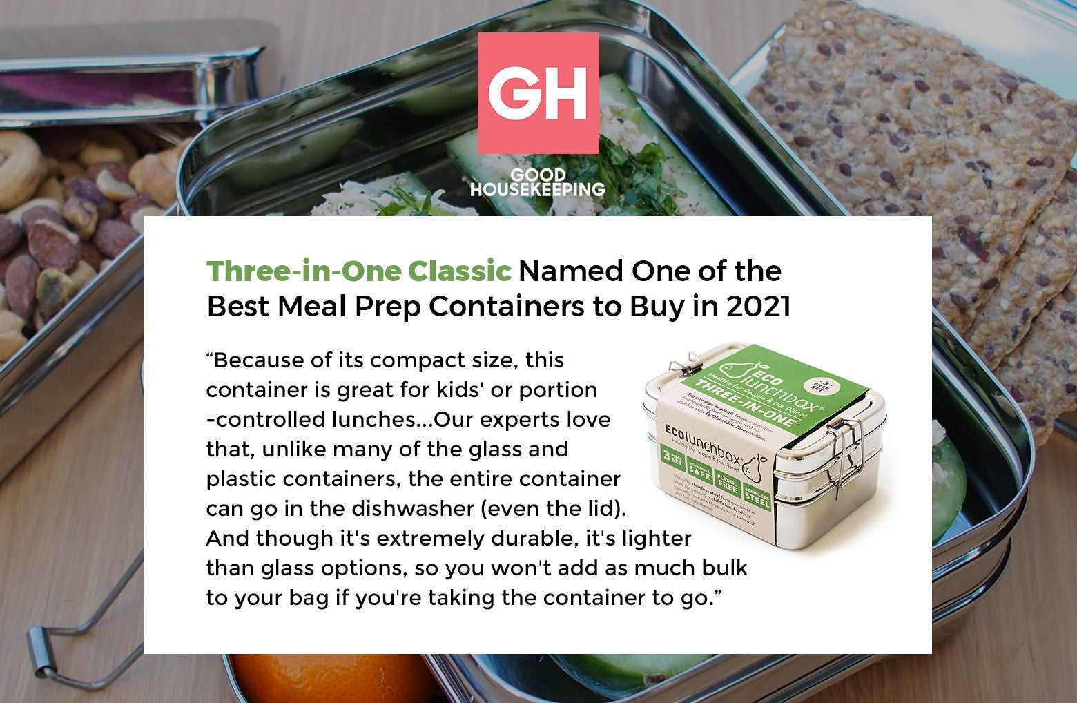 Good Housekeeping snippet featuring the Three-in-One Classic ECOlunchbox.