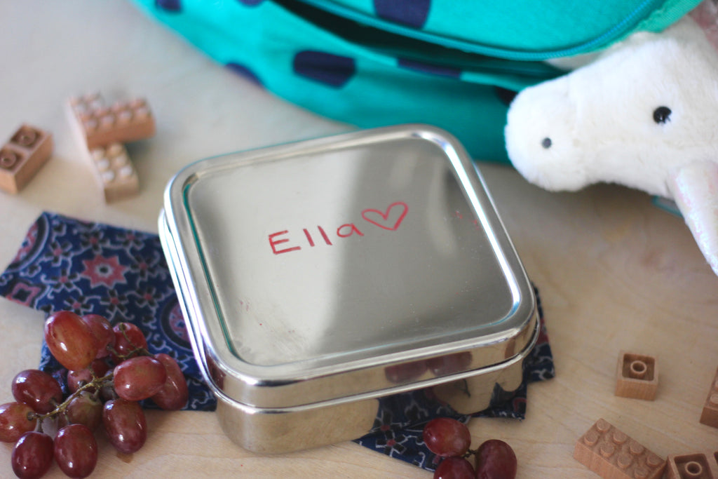 Stainless steel ECOlunchbox food container with wax marker name
