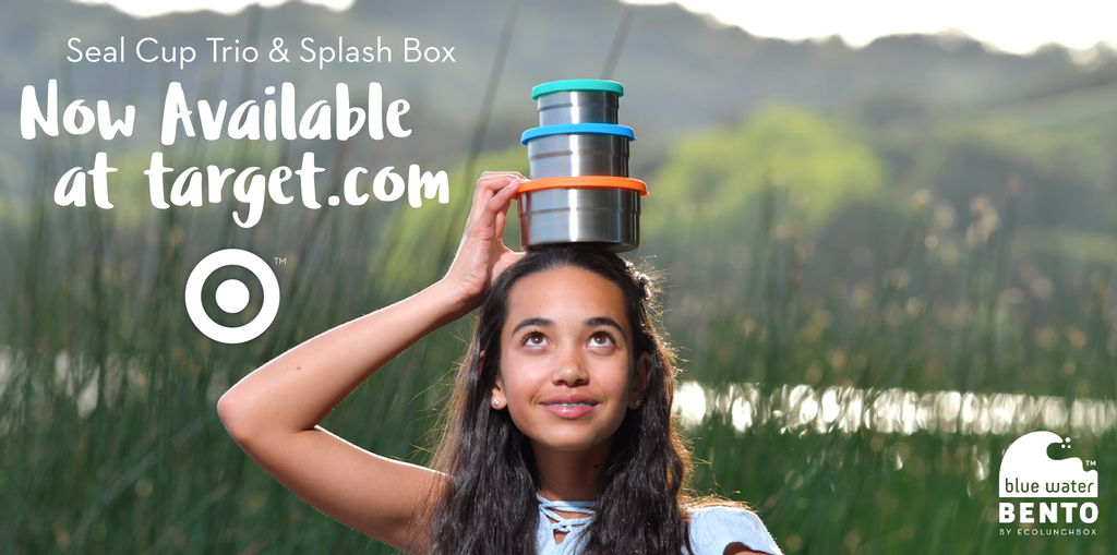 Image of a girl with ECOlunchbox Seal Cup Trio, now sold at Target