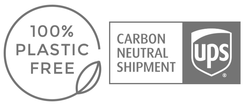 100% Plastic Free and UPS Carbon Neutral Icons
