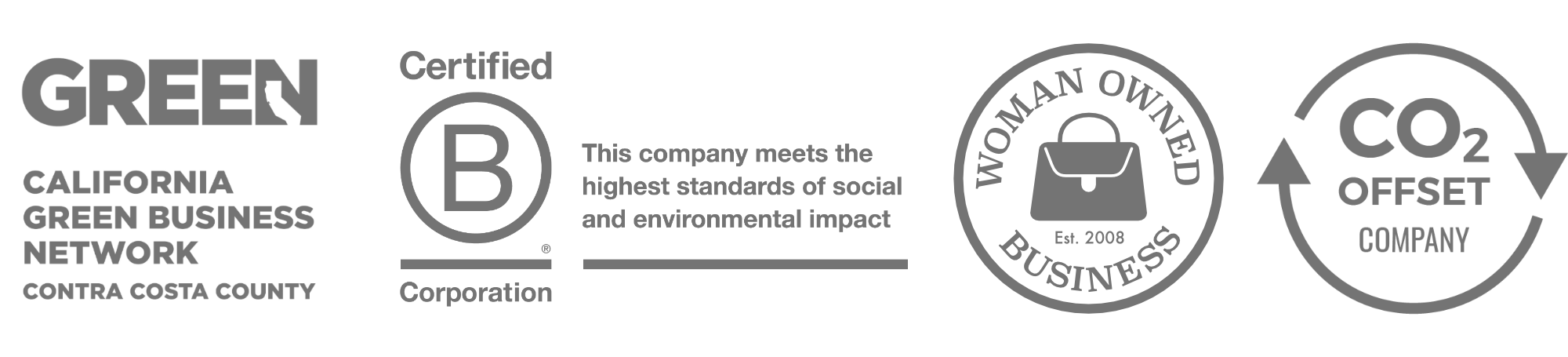 California Green Business, B-Corp, Woman Owned, and CO2 Offset Logos