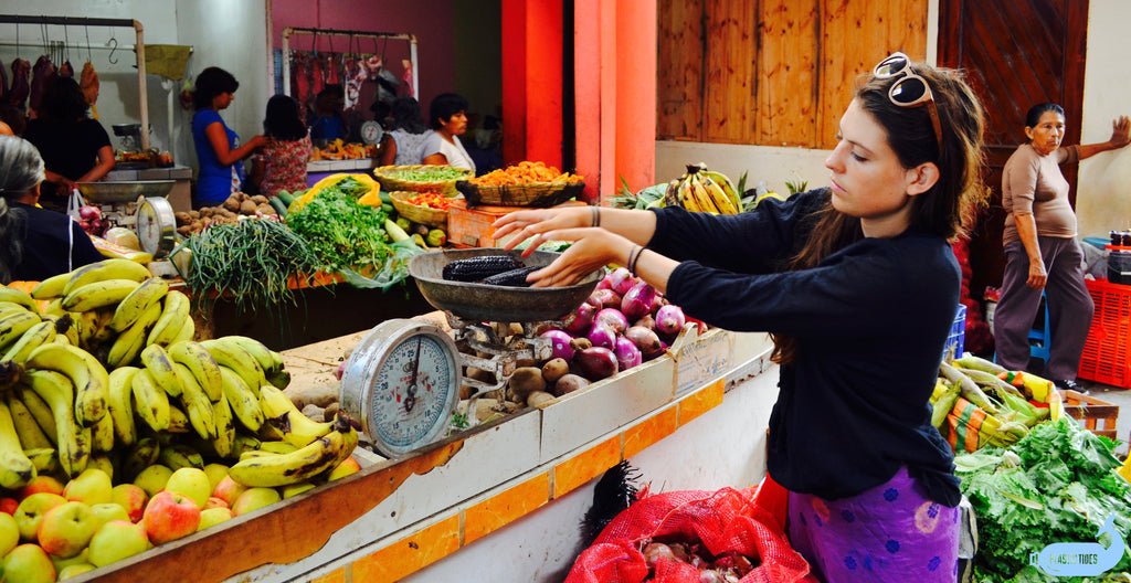 Celine Jennison, Zero Waste Voyager, at the market in Chicama, Peru