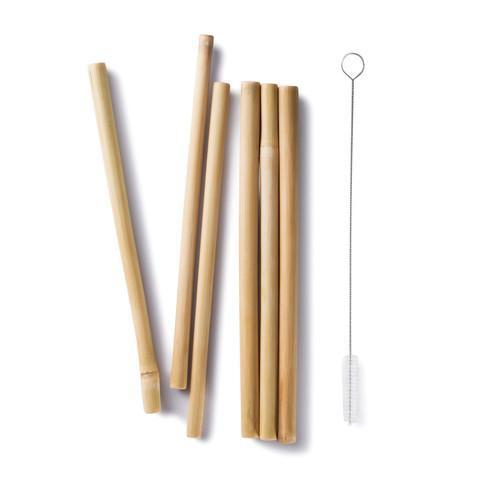 ECOlunchbox Accessories Bamboo Drinking Straws (Set of 6 + Cleaning Brush)