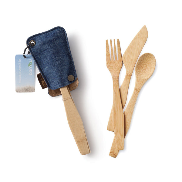 ECOlunchbox Accessories Bamboo Knife, Fork & Spoon - ECOtravel Utensil Set & Hemp Sleeve