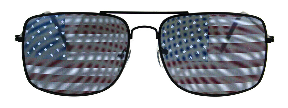 Air Force  Square Aviator Sunglasses with US Flag