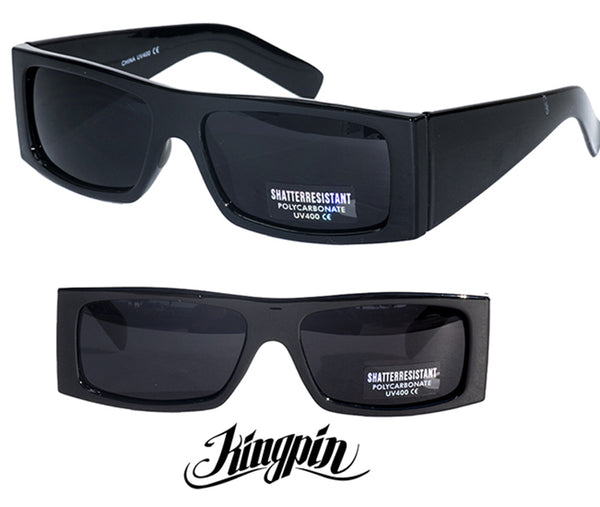 "LOCS "" KINGPIN"" FLAT TOP Super Dark Sunglasses Cat 4"