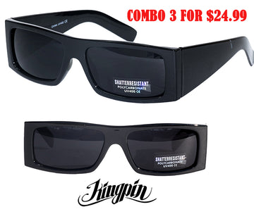"LOCS "" KINGPIN"" combo deal Super Dark Sunglasses Cat 4"