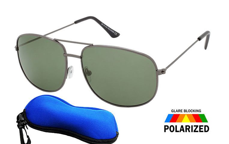 Air Force  Polarized Round  Aviator Sunglasses / FREE ZIPPER CASE