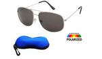 Polarized Round  Aviator Sunglasses / FREE ZIPPER CASE