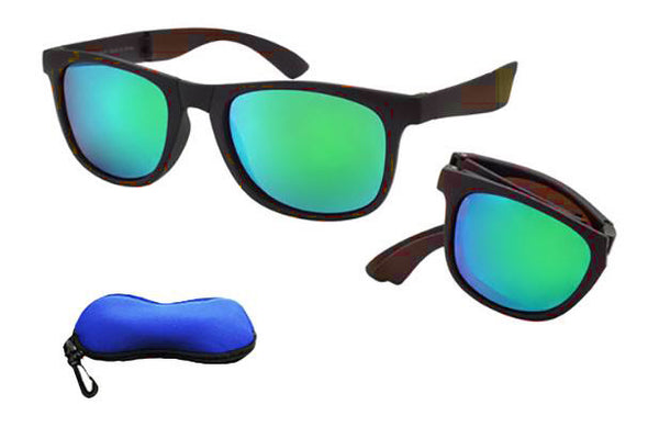 Green-Blue Colored Lens Folding Sunglasses