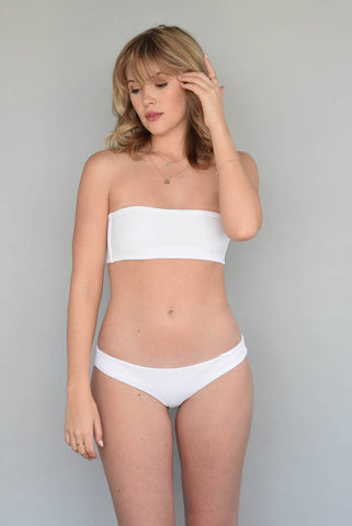 Ribbed Alabaster + White HARPER HIGH WAISTED
