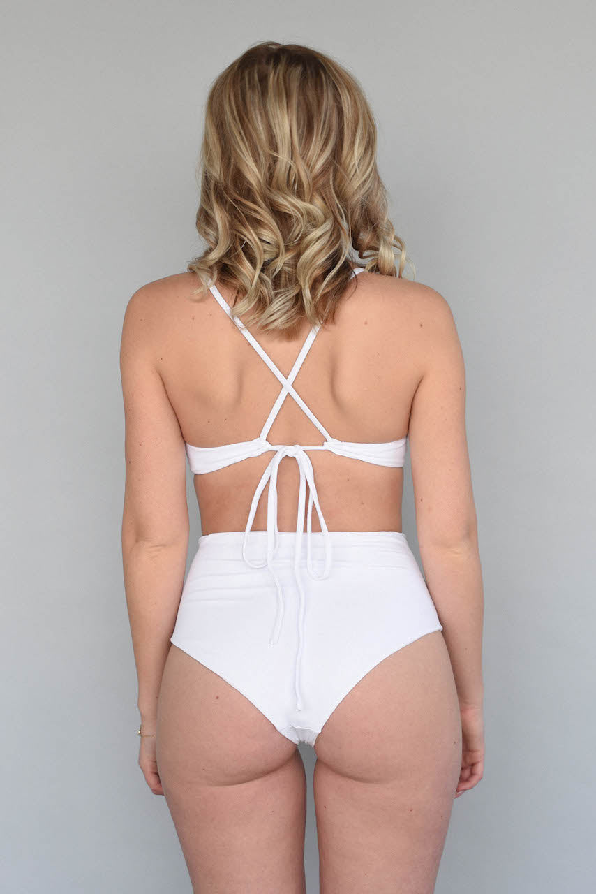 Ribbed Alabaster + White BERKELEY BRALETTE