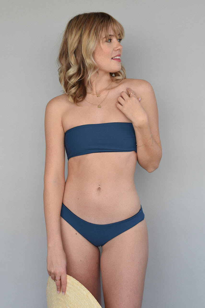 Ribbed Antique Blue + Midnight BENNETT BANDEAU