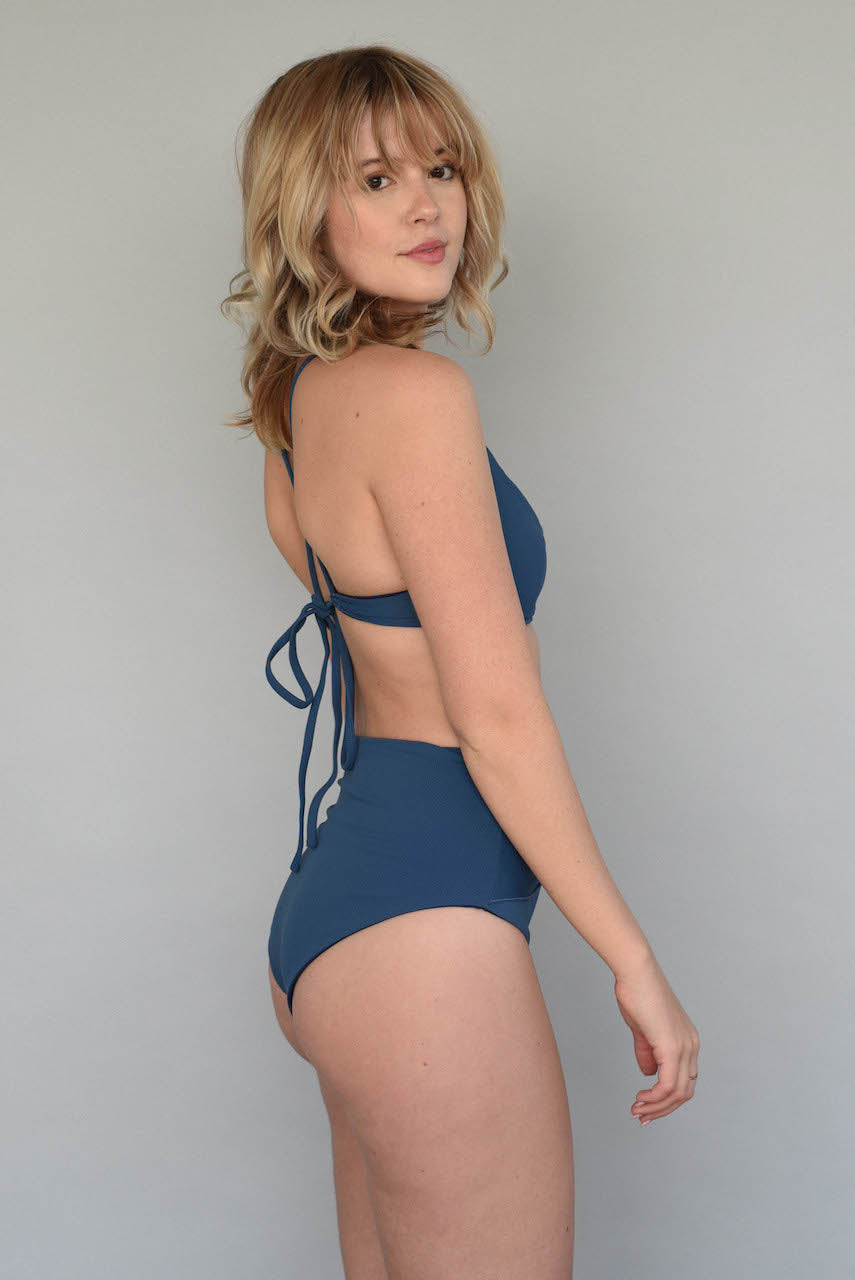 Ribbed Antique Blue HARPER HIGH WAISTED