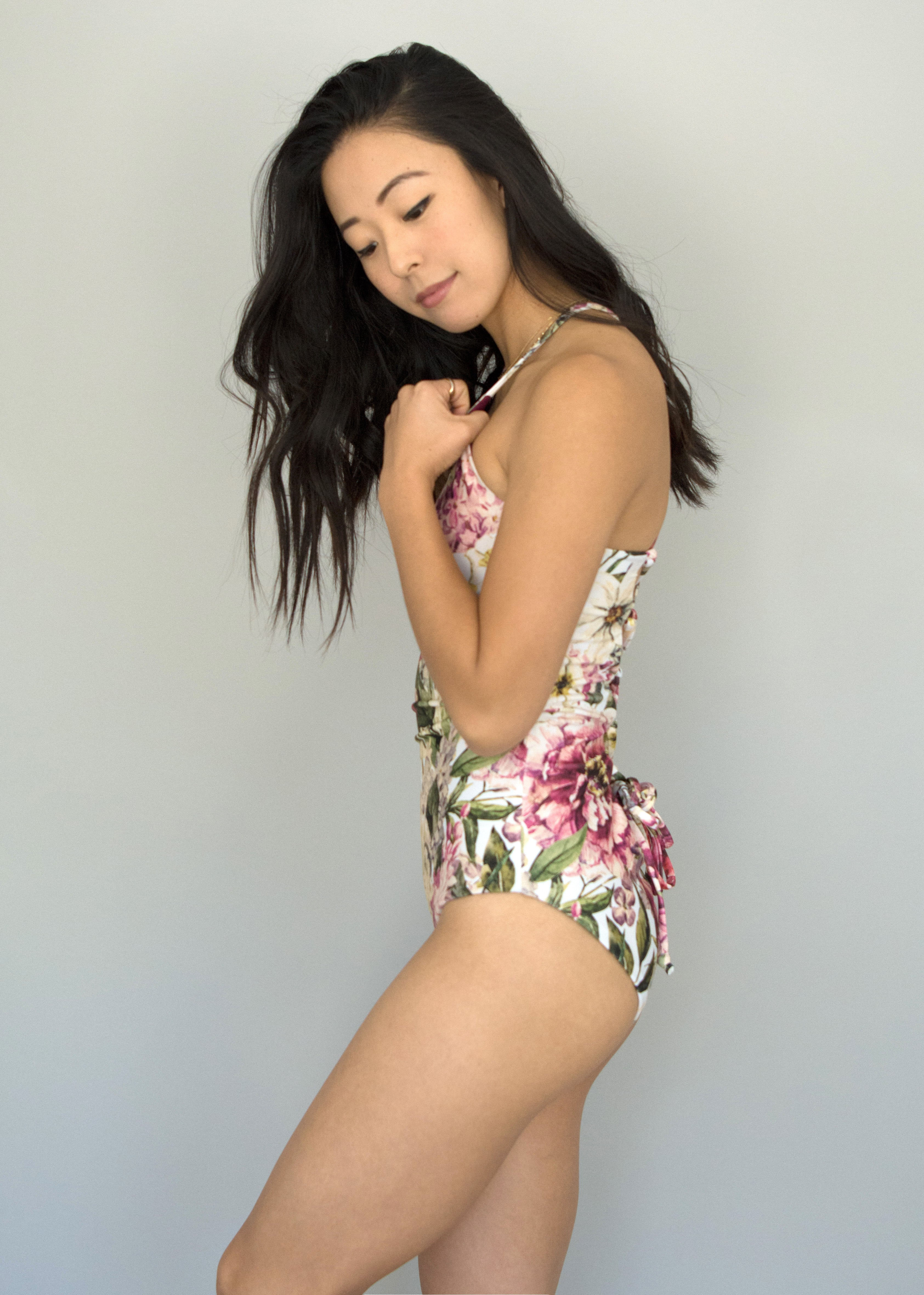 Vintage Floral + Red Dahlia LONDON ONE PIECE
