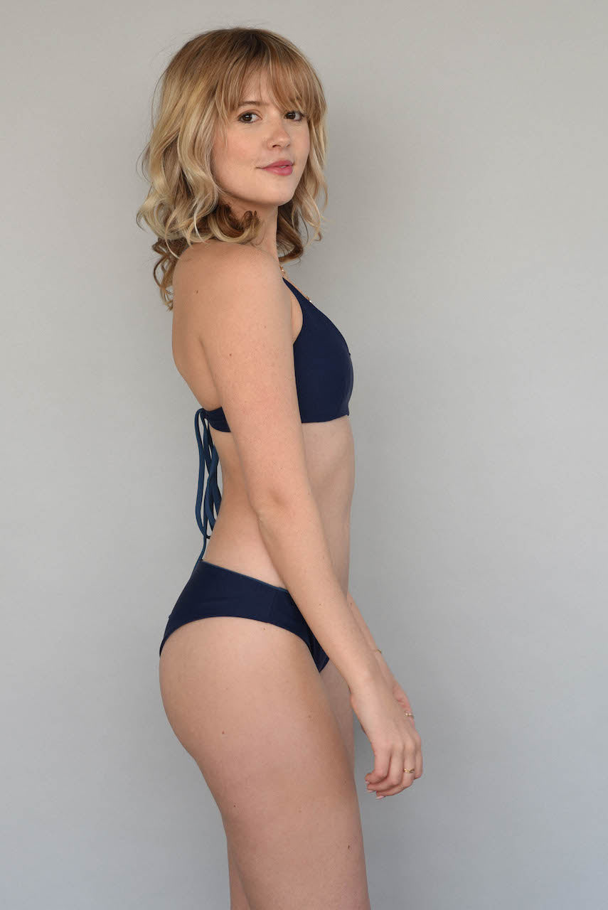 Ribbed Antique Blue + Midnight BERKELEY BRALETTE