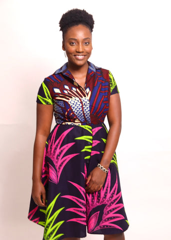 Shirtdress, mixed prints, ankara dress