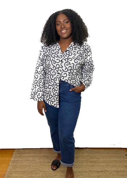 African Print Bae Shirt - Chalk - suakoko betty