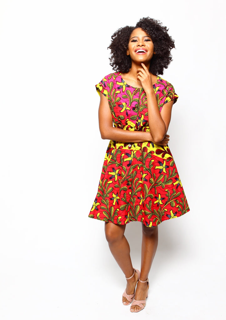 African Print Sia Day Dress - Ruby - suakoko betty