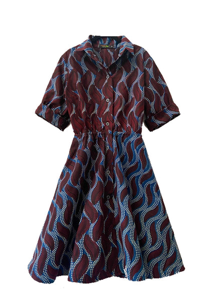 African Print Shayla Shirtdress - Indigo - suakoko betty