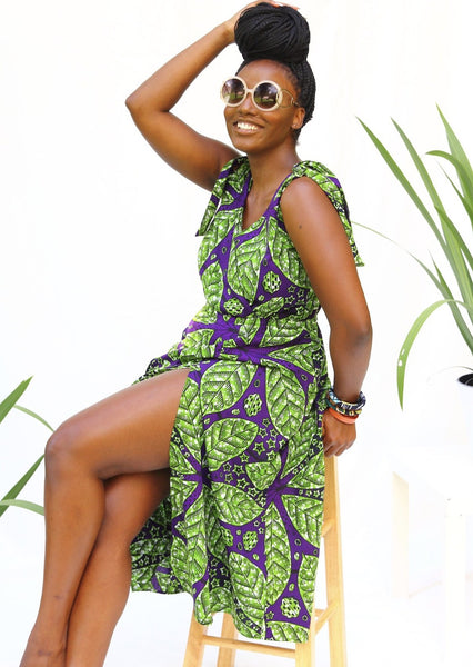African Print Cate Dress - Lime/Eggplant - suakoko betty