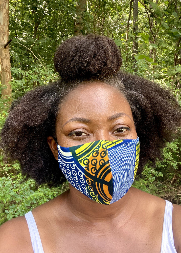 Molded Fabric Face Mask - Teal/Gold - suakoko betty