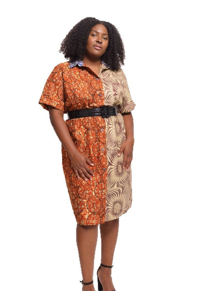African Print Joan Shirtdress - Tangerine/Chalk - suakoko betty