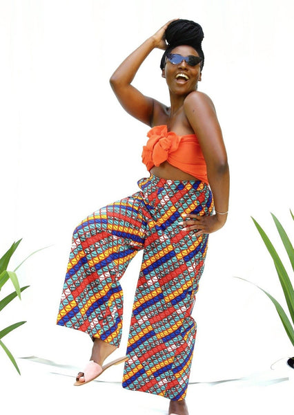 African Print Koko Wide-leg Pants - Rust/Aqua - suakoko betty