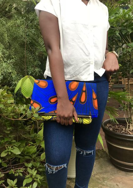 African Print Naya Foldover Clutch Blue Note - suakoko betty