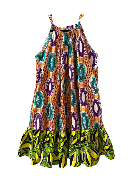 African Print Kola Gown - Peach/Lime - suakoko betty
