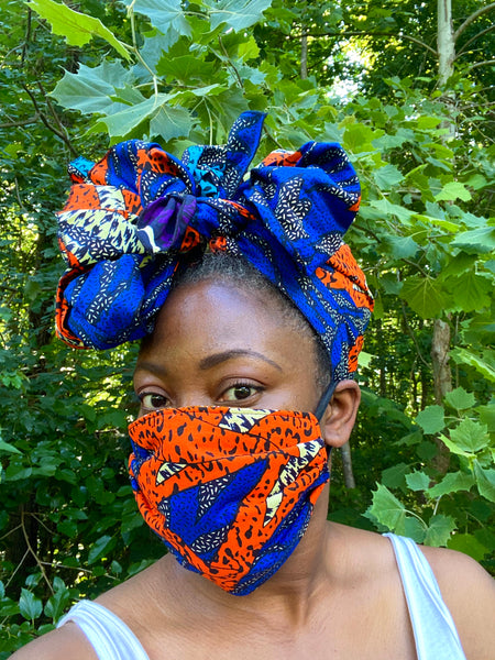 Fatu Headwrap + Face Mask Combo - Tiger - suakoko betty