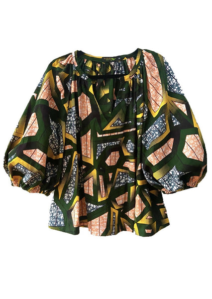 African Print Chloe Blouse - Emerald - suakoko betty