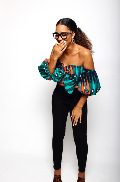 African Print Uzo Blouse - Palm - suakoko betty