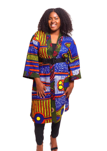 African Print Fatima Duster - Cobalt/Rouge - suakoko betty