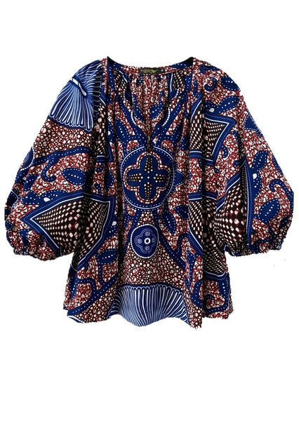 African Print Chloe Blouse - Peppermint - suakoko betty