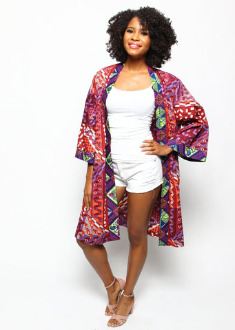 African Print Fatima Duster - Tropical Punch