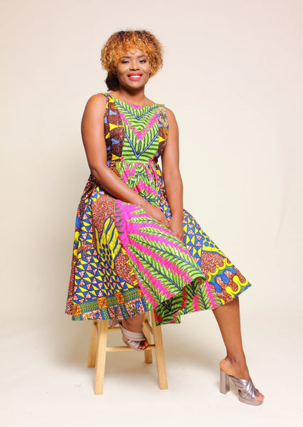 African Print Enoh Nip Dress - Rust/Fuschia - suakoko betty