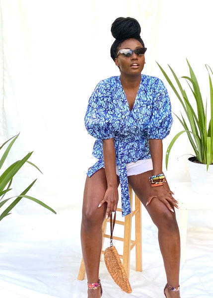 African Print Makeba Wrap Blouse - Indigo - suakoko betty