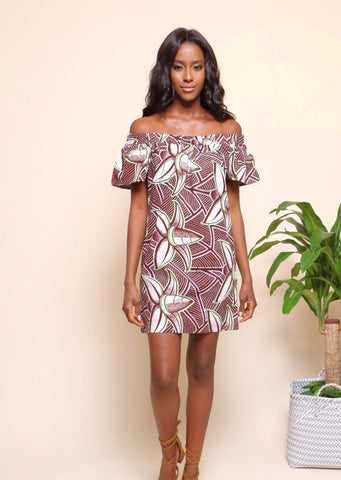 African Print Lena Dress - Coconut