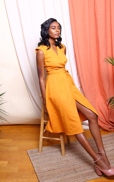 SUAKOKO Chima Wrap Dress - Marigold - suakoko betty