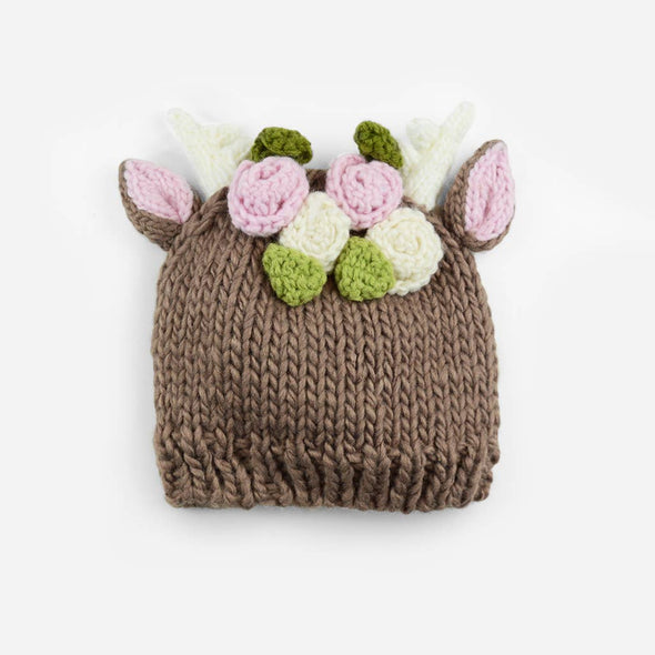 Deer with Flowers Hand Knit Hat