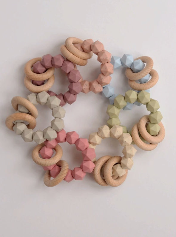 Silicone & Wood Teething Rattle