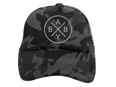 Gray Camo Baby X Trucker Hat