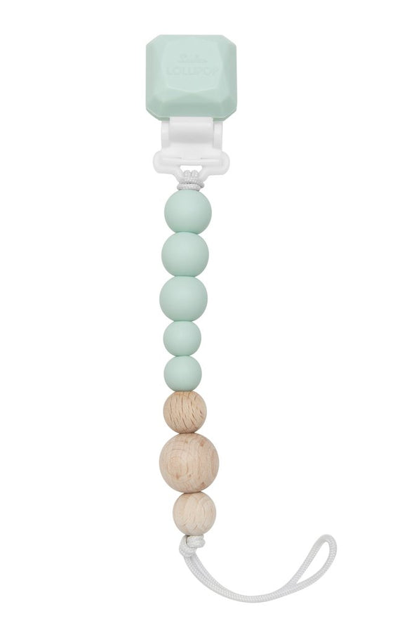 Mint Silicone & Wood Pacifier Clip