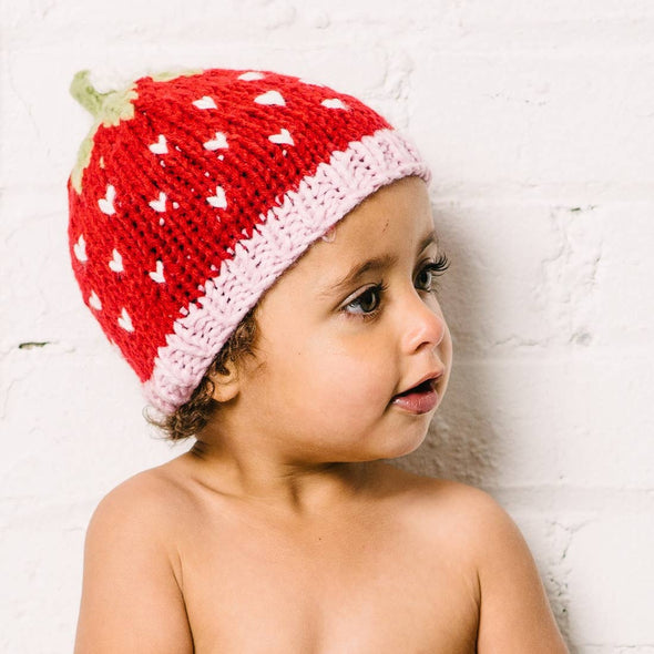 Strawberry Hand Knit Hat