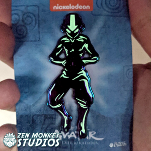 Avatar State Aang: Rainbow Metal Glow In The Dark 3 Inch Mega Pin