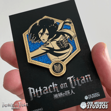 Load image into Gallery viewer, Golden Mikasa - 1st Edition Attack on Titan Collectible Enamel Pin