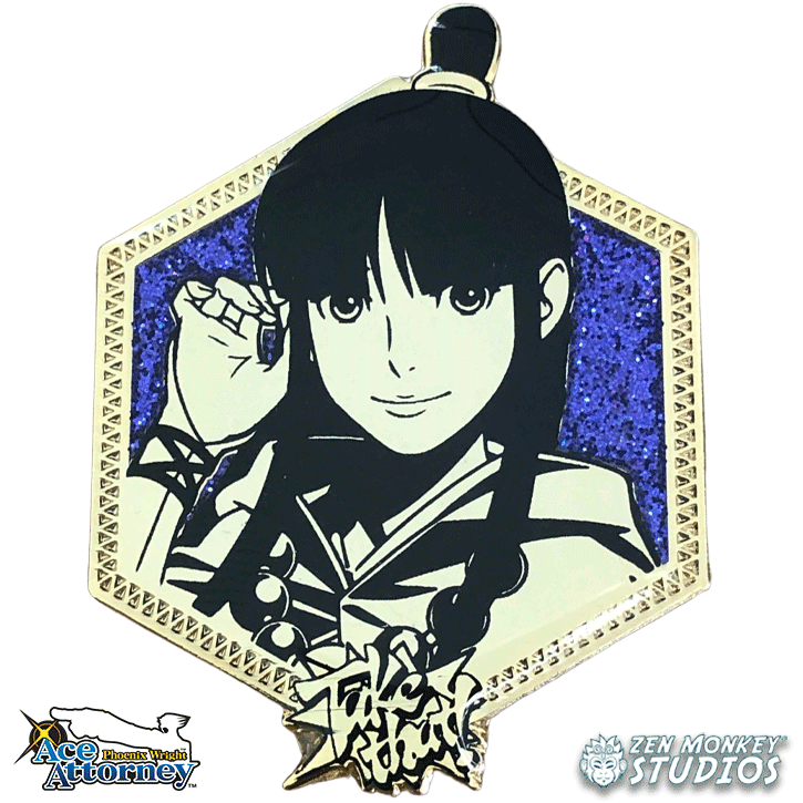 Golden Older Maya Fey: 1st Edition Ace Attorney Pin